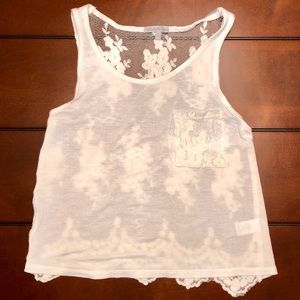 ✨Ivory Lace Crop Tank Sheer Back✨